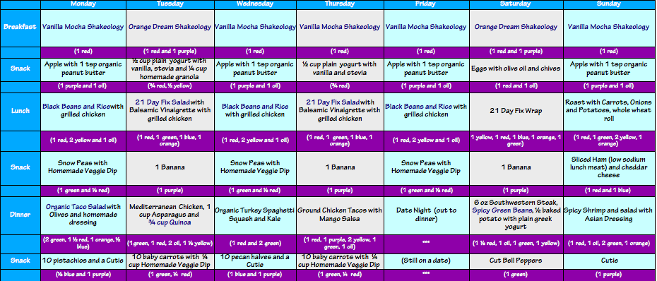 21 Day Fix: 1200 Calorie Week Long Meal Plan – Amy Allen ...